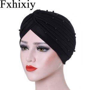 Muslim Women Solid Cotton Ruffle Bead Turban Hat Cancer Chemo Beanies Chemotherapy Cap Headwear Wrap Plated Hair Loss Cover