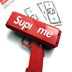 Super homens Caixa canhão dinheiro Gun Brand new dólar dinheiro conta arma legal Caixa Lançador de partido vermelho Car Interior Detalhes no frete grátis