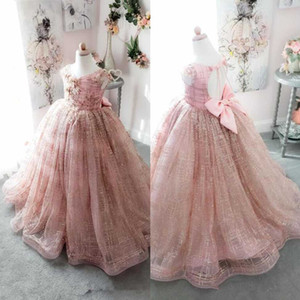 Reflective Sequined 3-D Floral Appliqued Princess Flower Girls' Dresses With Bow Sash Organza Kids Formal Wear With Hollow Back