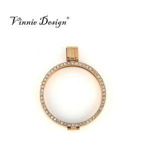 33 mm My Coin Disc için Vinnie Tasarım Takı Yeni Geliş Paslanmaz Çelik Kristal Madeni Para Tutucu kolye