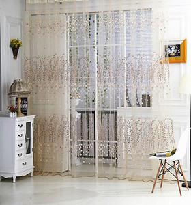 Nueva ventana de la puerta de flores de tul drapeado Cribado cortina escarpada del panel Bufandas cenefas perlas borla