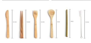 Portable Natural Bamboo Straw Spoon Fork Knife Chopsticks Cleaning Brush Kitchen Utensil Bamboo Cutlery Set
