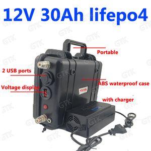 waterprrof Lifepo4 bateria 12v 30Ah Com USB para 360W hérnia lâmpada Peixe localizador de LED segurança mineiro luz do monitor UPS + Carregador 3A