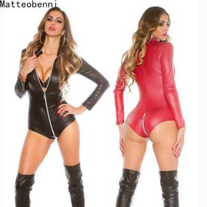 Seksi Wetlook Lingerie Kadın Lateks Catsuit Faux Deri Ön Fermuar Kasık Bodysuit Fetiş Kostümleri Erotik Vücut Suit Artı Boyutu S703