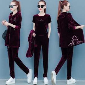 Velvet tracksuit for women 2019 autumn female fashion large size jacket+t-shirt+pants suits women's velvet three-piece sets T200602