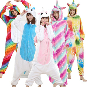 Animal Unicorn Kigurumi Onesie Adult Men Women Sleepwear Pajamas Soft Fancy Anime Unicornio Pijima Overall Nightwear Onepiece Y200107