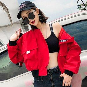 Contraste Mode couleur Cargo Veste Femmes New Zipper en vrac Streetwear Manteau Casual manches longues Patchwork Vestes Vêtements Extérieurs