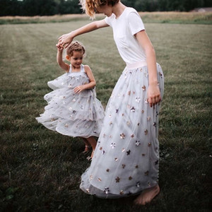 Vieeoease Girls Dress Stars Kids Clothing 2019 Summer Fashion Straps encaje brillante vestido de tul CC-342