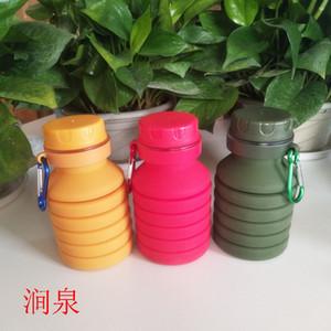 venta creativa de silicona botella de agua plegable retráctil deportes al aire libre bicicleta botella simple botella protección del medio ambiente