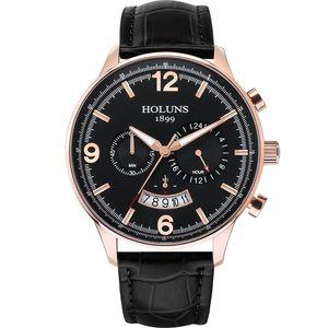 Luxusuhr 22 mm große 24 Stunden Wahlquarzuhr Mann-Armbanduhr wasserdicht Zähler Uhren für Männer 2020 / BRW