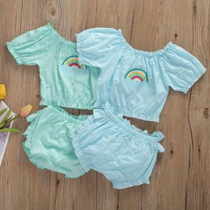 Fashion Baby Girls 2PCS Outfits Set Cotton Short Sleeve Rainbow Pearl T shirt Tops+Solid Short Pants Summer Casual Clothes