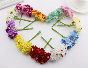 6pcs silk Stamen Fake Artificial flowers for wedding decoration handicraft DIY bride bouquet Decorative Gift Scrapbooking wreath