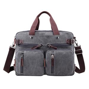 Designer-Men Canvas Shoulder Bag Durable Laptop Double Handle Handbag with Multi Pockets Large Dad Bag High Quality Men's Messenger Bags
