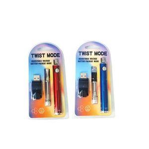 E Cigarette Kit 510 Thread Twist Mode 650mAh eGo Twist VV Preheat Battery Pen with Thick Oil Cartridge Tank Wireless USB Charger