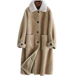 Real casaco de pele de lã Jacket Outono Inverno Casaco feminino Roupa 2020 coreano Sheep Shearling Fur Suede Lining Abrigo Mujer ZT3603
