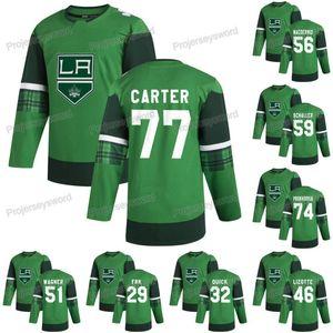 Los Angeles Kings Jeff Carter 2020 St Patricks Günü Jersey Jonathan Hızlı Cal Petersen Gabriel Vilardi Blake Lizotte Austin Wagner Formalar