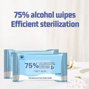 DHL desechable alcohol desinfectante toallitas húmedas portátil de mano toallitas desinfectantes 10pcs / bag No Lavado rápido Esterilización Desinfección Dipe