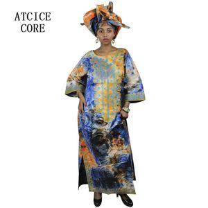 Vestidos africanos para a mulher Bazin africano projeto riche bordados projeto vestido longo vestido com lenço A064 #