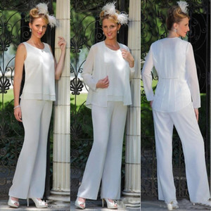 Chiffon Mother Of The Bride Trouser Suits With Jacket 3 Pieces Groom Mothers Formal Wear Beach Wedding Guest Dress Plus Size