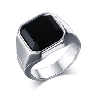 acero inoxidable anillo para hombre anillos de joyería de moda clásica de los hombres del anillo de ágata Negro clásica desinger anillos de lujo de moda punk hip hop