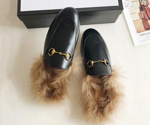 Nouveau Mulets Princetown Mode Femmes Fur Chaussons Mules Flats Designer en cuir véritable dames chaîne en métal Mode casual chaussures US 4-9
