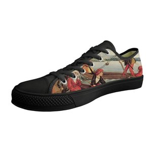 Drop Shipping Men Outdoor Shoes Christ's Crucifixion Painting Art Print Low top Black Canvas Vulcanized Customizable Shoes