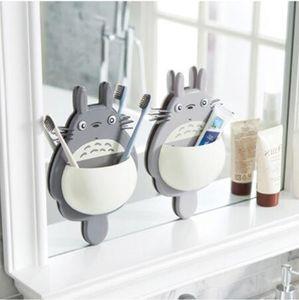 2020 novo dos desenhos animados Monte escova de dentes suporte de parede bonito Totoro otário caixa de Banho Organizador Ferramentas Acessórios Dark Gray Light Gray
