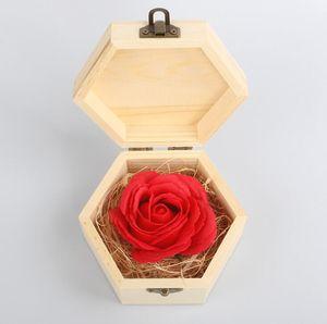 Rosa com Day caixa de madeira dos Namorados Presente Itens amantes Rose Flor do presente de casamento Novidade Decoração sabão Flor OOA7316-2