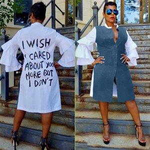 Primavera Mulheres Desigenr Vestidos Moda Carta Impressão Petal Sleeve Paneled Vestidos Casuais Mulheres Vestido