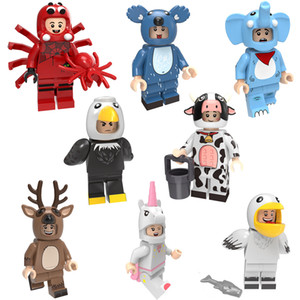 Cartoon-Tier Elefantenkuh Adler Pelikan Elk Spinne Koala Einhorn Mini Action-Figur Building Blocks Ziegelstein-Spielzeug für Kind