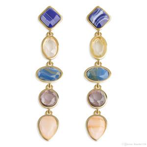 3 colores elegantes de lujo pendientes de resina accesorios de joyería de moda pendiente Back Studs Eardrop para mujeres al por mayor