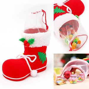 1pcs Gift Candy Christmas Shoes Xmas Decoration Tree Boots Stocking Hanging Bag Elfs M