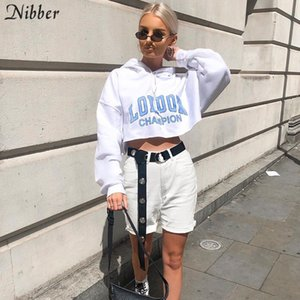 Nibber Harajuku white cotton Slim Soft short Hoodie 2019 fall Winter long sleeve casual Sportswear Outdoor thin tops coat mujer Y200706