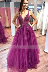 Sheer Tulle V-neck Bead Lace Applique Prom Dresses with Backless A-line Sexy Party Dress Charming Evening Dress