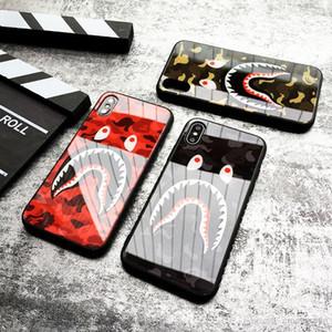 Vidro temperado Camouflage tubarão Apple iphone 11 pro xr X XS MAX Four Corners Anti-queda iPhone 6s 7 8 7P 8plus Silicone Case