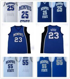 NCAA Mens Memphis Tigers Jersey # 23 Derrick Rose # 25 Penny Hardaway # 55 Lorenzen Wright azul camisa blanca jerseys del baloncesto de la universidad cosido