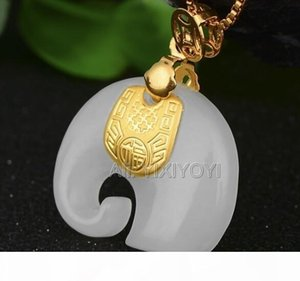 Natural White Hetian Jade + 18k Solid Gold Inlaid Chinese Cute Elephant Amulet Lucky Pendant + Free Necklace Jewelry Certificate Y19052301