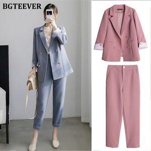 BGTEEVER Ofisi Bayanlar Blazer Suit Çift Breasted Kadın Blazer Pantolon Zarif Kadın Pantolon Suit 2020 Set Streetwear Cepler