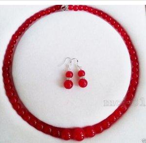 Natural al por mayor 6-14mm pendientes collar moldeado rojo esmeralda redonda de la piedra preciosa joyería de moda de Glamour Set