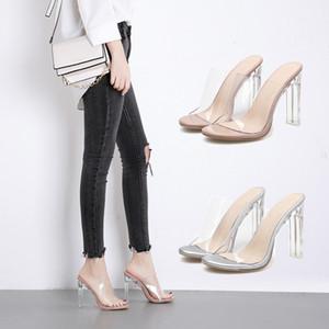 kadın sandalet şeffaf seksi 12cm tıknaz yüksek topuklu ayakkabılar lüks moda bayan kadın slaytlar katır pvc peep toe ayakkabı ve Perspex pompalar