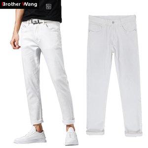 Stil neue dünne Qualität weiße Männer Jeans 2019 elastischeTrußer Wang Marke Classic High Brother Herbst Kleidung Männliche Hose UAhpt