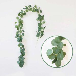 Artificial Green Eucalyptus Vines Rattan Decoración de boda Plantas artificiales falsas Ivy Wreath Decoración de pared Decoración de jardín