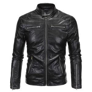 Oeak Winter Warm Leather Jacket Men Casual Windbreaker Mens Motorcycle Jacket Fashion Zipper Patchwork Male Black Jackets Coat
