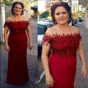 Red Mother of the Bride Dresses Off Shoulder Lace Appliqued Mother's Gowns Plus Size Guest Formal Wedding Dress