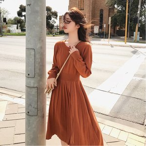 Korean Sweater Dress Spring Woman NEW Knitted Female Long Sleeve Loose Vintage Office Lady MX200518