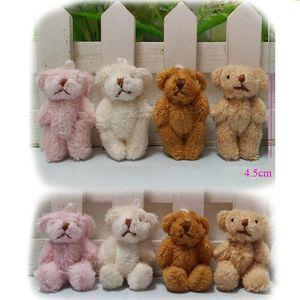 4,5 centímetros Plush Kawaii Mini Teddy Bear pingentes pequena brinquedos Joint nua Stuffed cadeia Key
