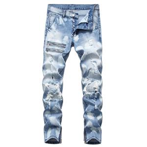 Moda Hombres Hombres Joggers Vintage Washed cremallera de los pantalones vaqueros para hombre de diseño rasgado Pantalones Lápiz