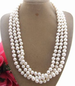 "KE102608 20 ""3Strands 9MM White Pearl Necklace"