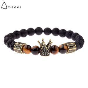 Amader Luxury Zircone Nero Corona Lava Stone Charm Uomo Top Quality Geometrica Cz Copper Bead Bracelet Ab688 C19041201