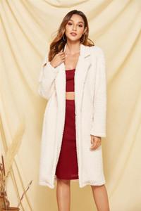 Donne Cappotti invernali a maniche Color Colors Allentati Cappotti Long Designer Risvolto Collo Solid Fashion Womens Plush Plush Crejd